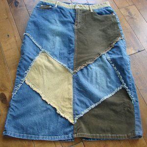 Boho Hippie Patchwork Denim Cord Long Skirt